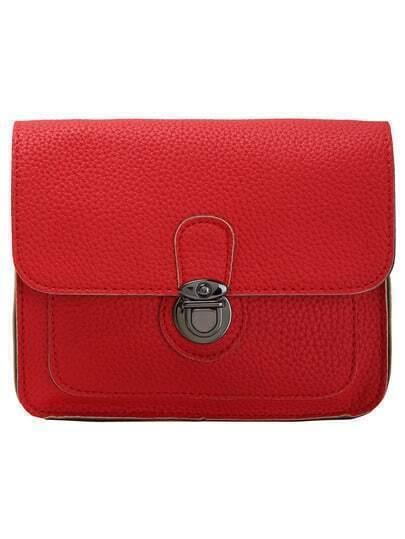 Red Push Lock PU Shoulder Bag