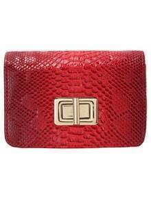 Red Twist Lock Crocodile PU Bag