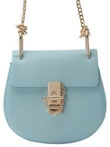 Blue Metallic Embellished PU Chain Bag
