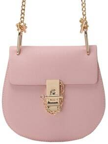 Pink Metallic Embellished PU Chain Bag