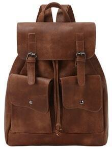 Brown Drawstring Belt Buckle PU Backpack