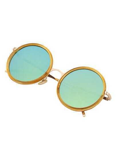 Yellow Round Frame Metallic Arms Sunglasses