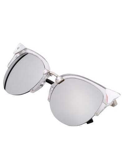 Silver Half Frame Rhinestone Featured Sunglasses