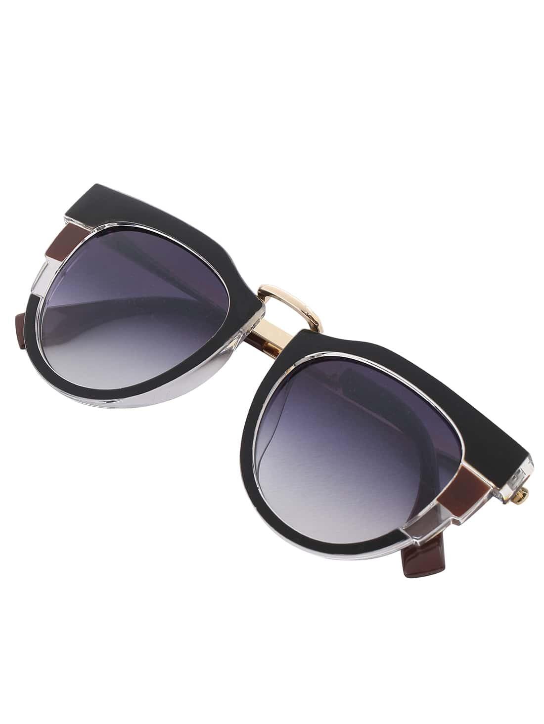 Black Mixed Frame Cat Eye Sunglasses -SheIn(Sheinside)