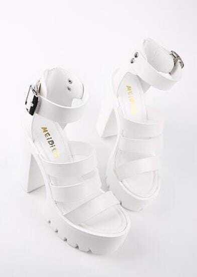 White Strappy Buckle Ankle Platform Sandals