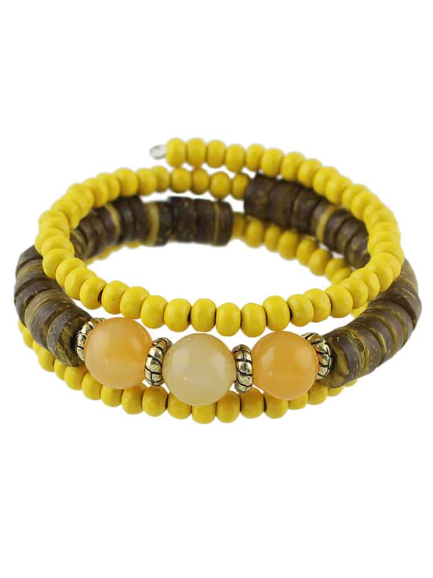 yellow wood bead bracelet shein sheinside