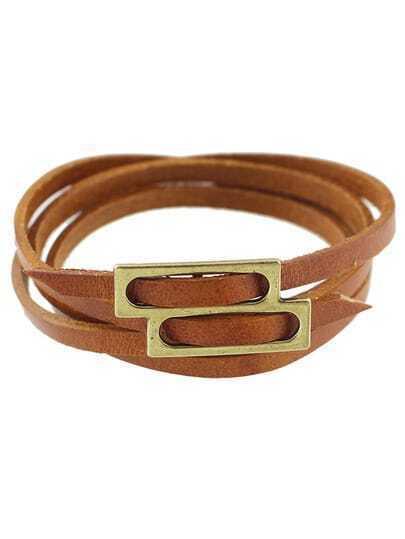 Brown Pu Leather Wrap Bracelet