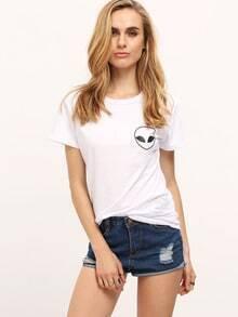 White Alien Print T-shirt With Pocket