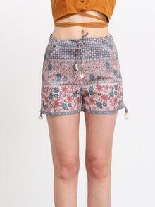 Flower Print Drawstring Shorts