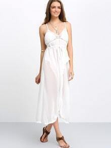 Deep V Neck Split Chiffon Dress