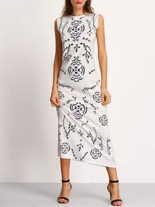 Sleeveless Leaves Print Dress