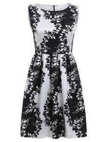 Leaves Print A-Line Dress With Zipper