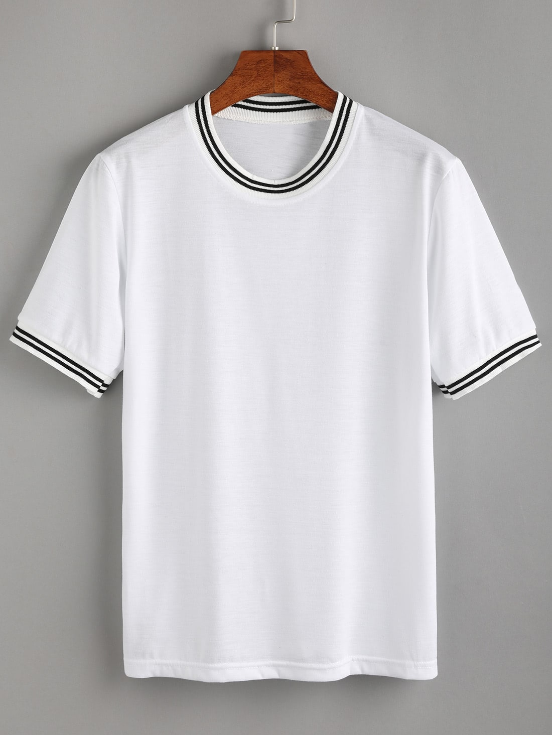 White Striped Trim T-shirtWhite Striped Trim T-shirt<br><br>color: White<br>size: L,M,XL