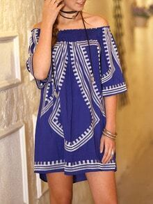 Blue Off The Shoulder Geommectric Print Dress