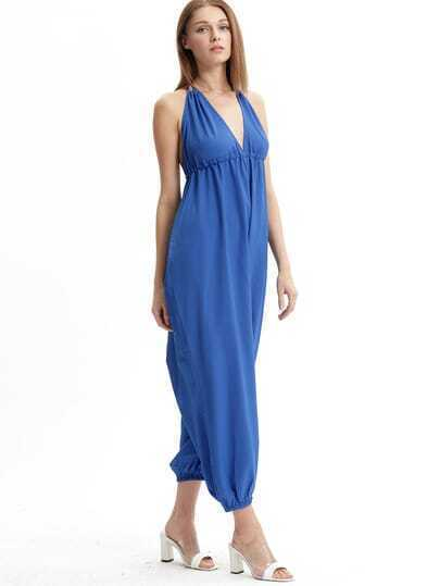 Blue Sleeveless Spaghetti Strap Backless Jumpsuit