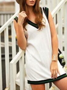 Beige Sleeveless V-neck Color Block Dress