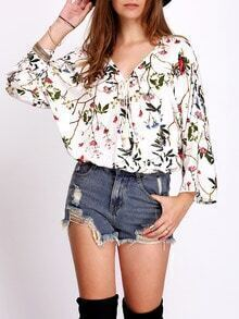 Multicolor Floral Print Tie Neck Blouse