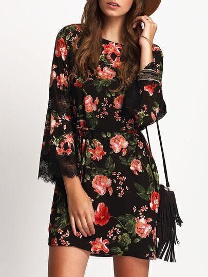 Black Tie-waist Lace Panel Sleeve Dress