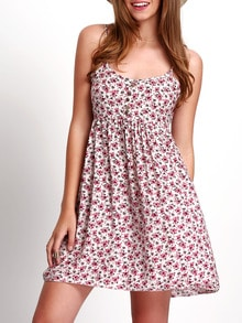 Spaghetti Strap Florals Dress With Buttons