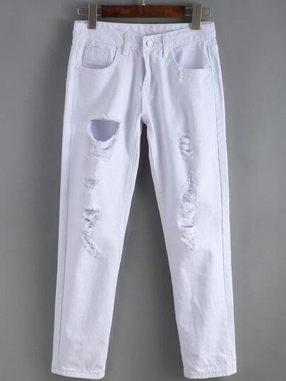 Ripped Denim White Pant