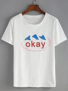 Letters Print White T-shirt