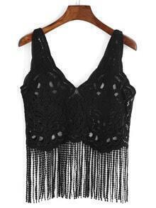 V Neck Fringe Lace Tank Top