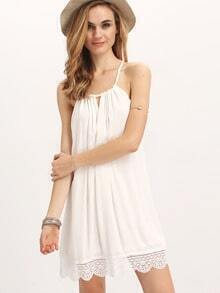 Cream Crochet Hem Cutaway Tie Neck Dress
