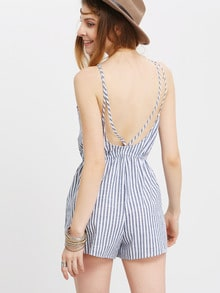 Vertical Stripe Backless Cutaway Jumpsuit