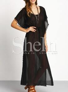 Black Pompom Trim Tie-waist Split Maxi Dress