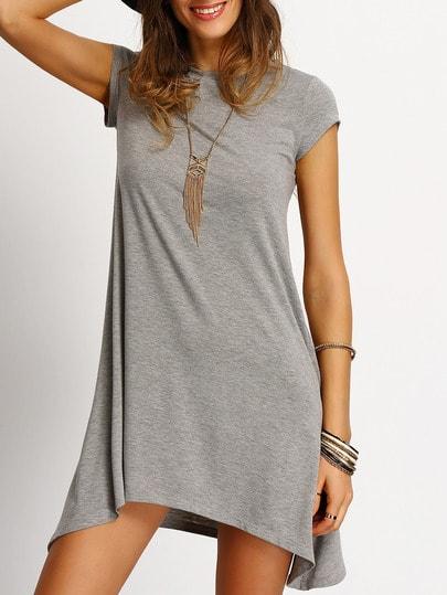 Grey Asymmetric Hem Casual Shift Dress