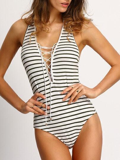 Breton Stripe Lace-up Backless Bodysuitsuit