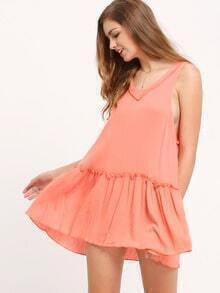 Orange Red Ruffled Dropped Waist Hem Dress