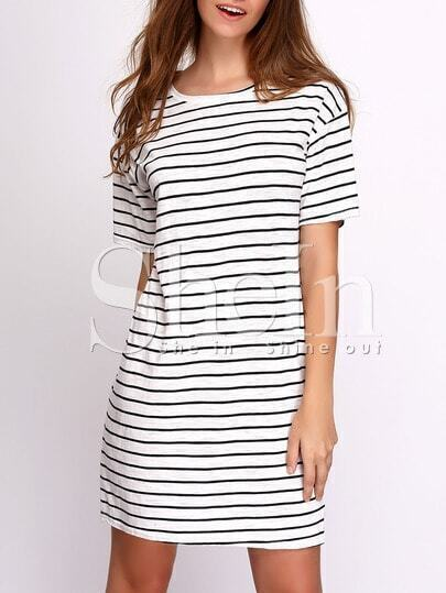 Breton Stripe Short Sleeve Round Neck Dress