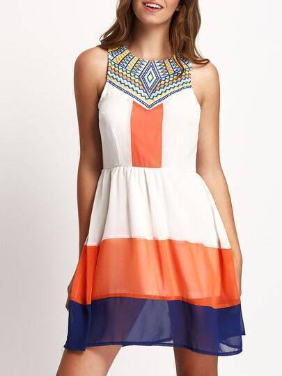 Color Block Pleated Zipper Back Skater Dress