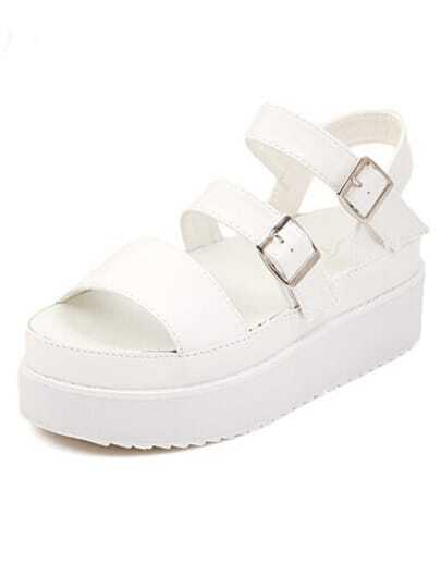White Strappy Buckled Chunky Platform Sandals