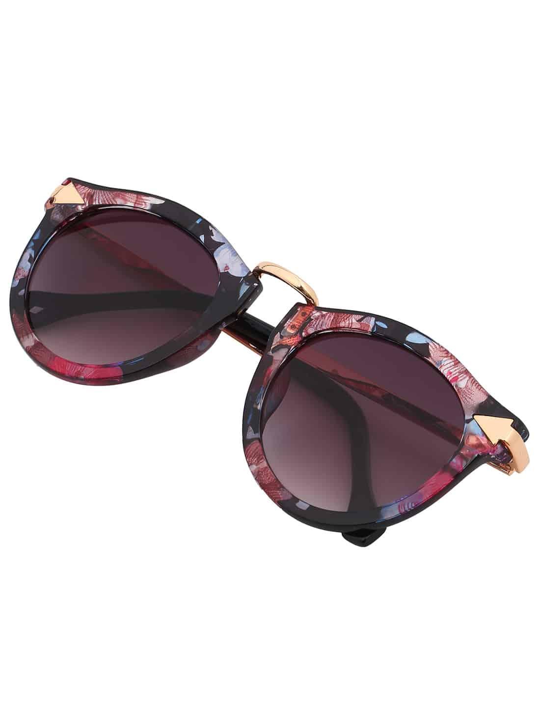 bdac0cd0136 Multi-color Plastic Frame Metal Arms Sunglasses -SheIn(Sheinside)