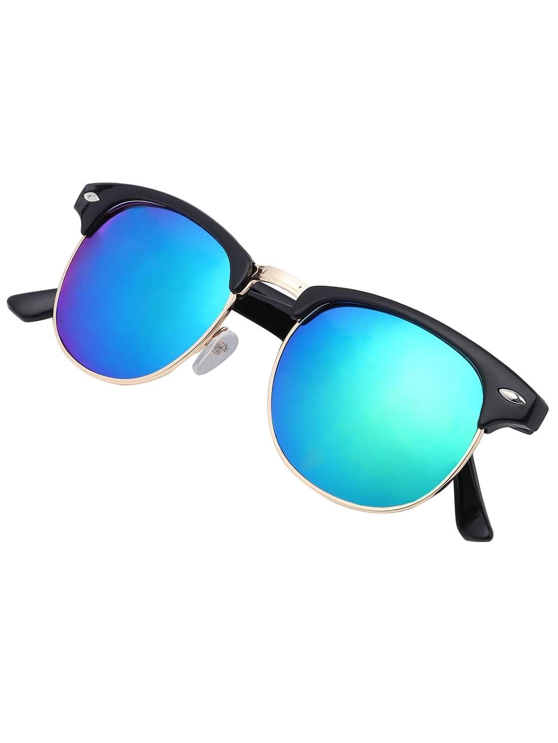 Browline Frame Mirrored Lenses Sunglasses