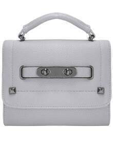 Grey Magnetic Twist Lock Studded PU Bag