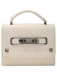 Beige Magnetic Twist Lock Studded PU Bag
