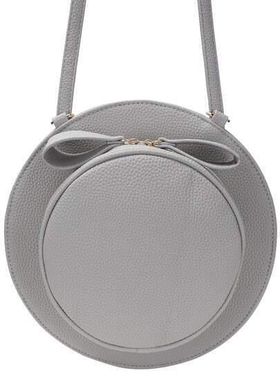 Grey Zipper Hat Shaped PU Bag