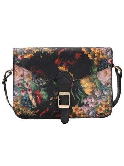 Florals Belt Buckle PU Bag