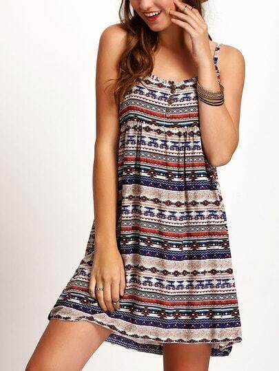 Spaghetti Strap Aztec Print Buttons Dress