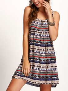 Spaghetti Strap Aztec Print Buttons Dress