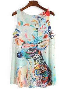 Deer Print White Tank Top