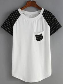 Raglan Sleeve Striped Pocket T-shirt
