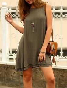 Army Green Sleeveless Layer Flowy Smock Dress