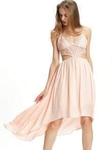 Pink Spagettic Strap Crisscross Asymmectric Dress