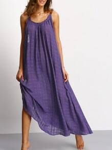 Purple Backless Pleated Maxi Dress