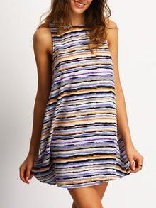 Multicolor Sleeveless Striped Casual Dress