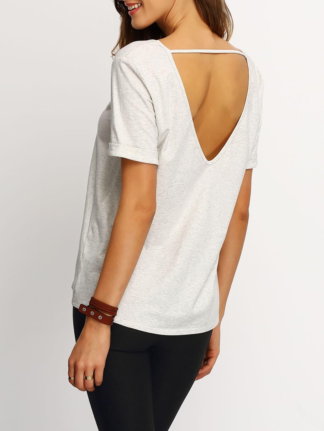 Grey short sleeve v cut back t shirt shein sheinside for How to print shirt